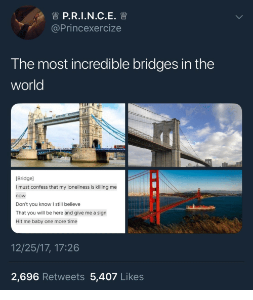 Time, World, and Loneliness: @Princexercize  The most incredible bridges in the  world  Bridge]  I must confess that my loneliness is killing me  now  Don't you know I still believe  That you will be here and give me a sign  Hit me baby one more time  12/25/17, 17:26  2,696 Retweets 5,407 Likes