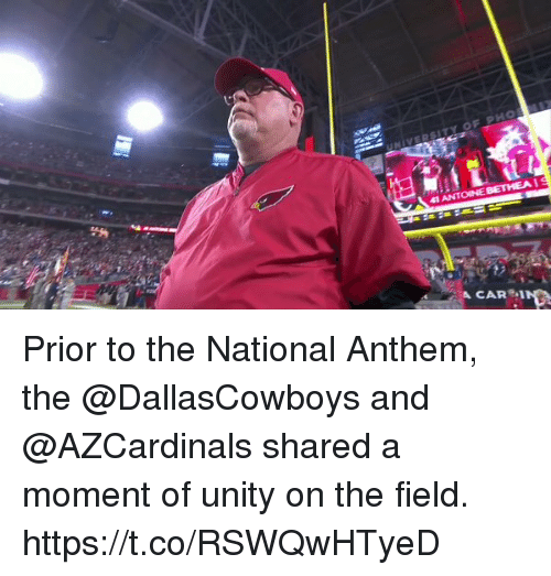 Memes, National Anthem, and Unity: Prior to the National Anthem, the @DallasCowboys and @AZCardinals shared a moment of unity on the field. https://t.co/RSWQwHTyeD
