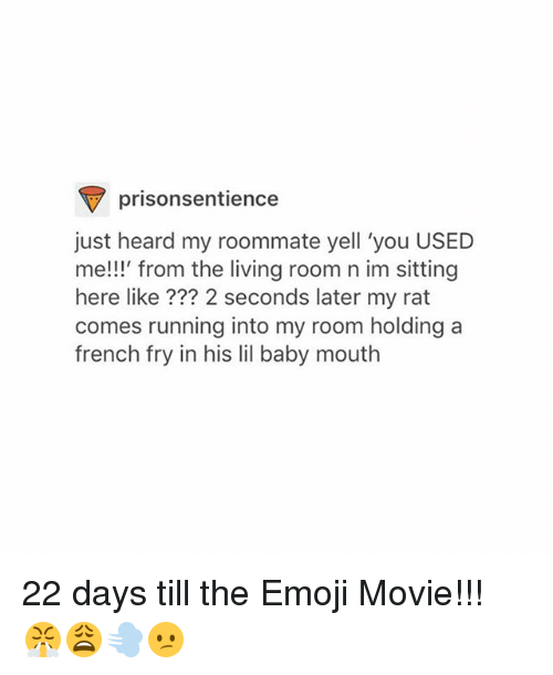 Emoji, Roommate, and Tumblr: prisonsentience  just heard my roommate yell 'you USED  e!!!' from the living room n im sitting  here like ??? 2 seconds later my rat  comes running into my room holdinga  french fry in his lil baby mouth 22 days till the Emoji Movie!!! 😤😩💨😕