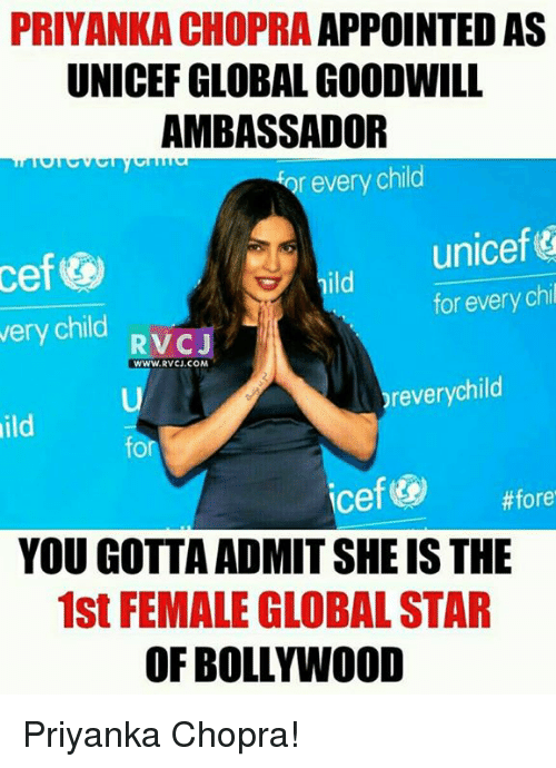 priyanka chopra appointed as unicef globalgoodwill ambassador r every child 11512378 ✅ 25 best memes about priyanka chopra priyanka chopra memes