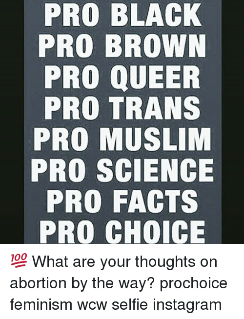 Facts, Feminism, and Instagram: PRO BLACK  PRO BROWN  PRO QUEER  PRO TRANS  PRO MUSLIM  PRO SCIENCE  PRO FACTS  PRO CHOICE 💯 What are your thoughts on abortion by the way? prochoice feminism wcw selfie instagram