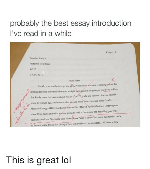 Cheap Essay Papers Memes Monster And Adhd Probably The Best Essay Introduction Ive Read Health Needs Assessment Essay also Reflective Essay Sample Paper Probably The Best Essay Introduction Ive Read In A While Knight   Persuasive Essay Example High School