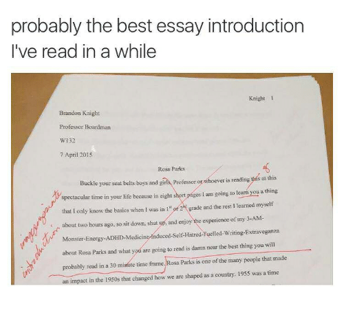 Probably The Best Essay Introduction Ive Read In A While Knight   Energy Life And Monster Probably The Best Essay Introduction Ive Read Short English Essays For Students also English Language Essay  Essays On Different Topics In English