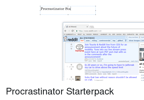 Advice, Cars, and Gif: Procrastinator Sta all (filtered) C https: