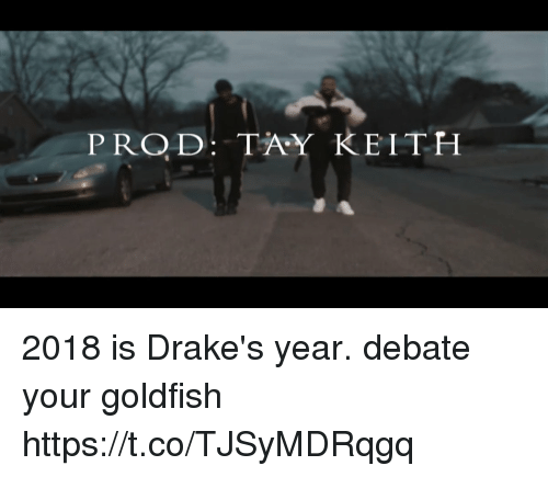 Blackpeopletwitter, Goldfish, and Debate: PROD: TAY KEITH 2018 is Drake's year. debate your goldfish https://t.co/TJSyMDRqgq