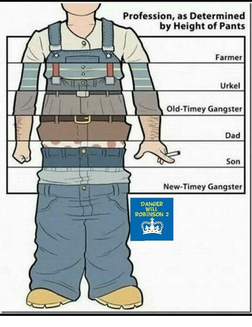Dad, Memes, and Old: Profession, as Determined  by Height of Pants  Farmer  Urkel  Old-Timey Gangster  Dad  Son  New-Timey Gangster  DANGER  WiLL  ROBINSON 2