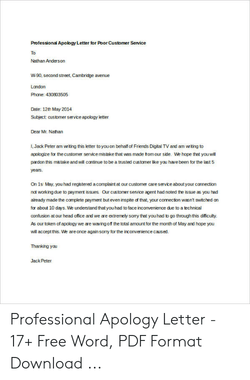Apologize Letter To Customer For Bad Service.Professional Apology Letter For Poor Customer Service To