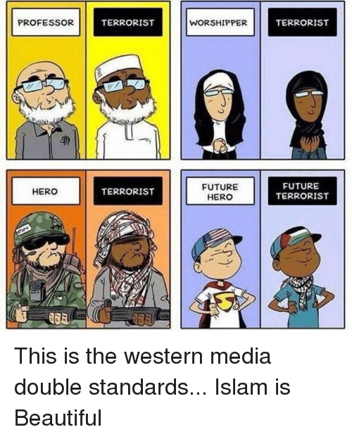 Beautiful, Future, and Memes: PROFESSOR  TERRORIST  WORSHIPPER  TERRORIST  FUTURE  HERO  FUTURE  TERRORIST  HERO  TERRORIST  0 This is the western media double standards...  Islam is Beautiful