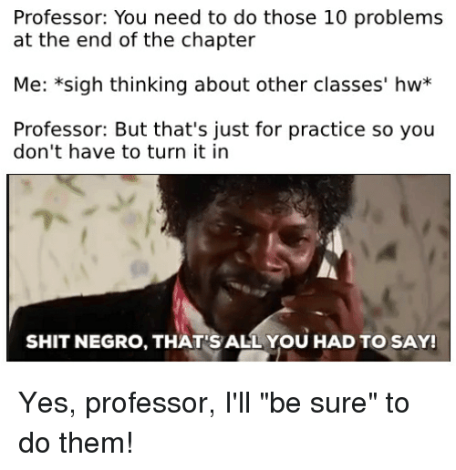 Shit, Dank Memes, and Yes: Professor: You need to do those 10 problems  at the end of the chapter  Me: *sigh thinking about other classes' hw*  Professor: But that's just for practice so you  don't have to turn it in  SHIT NEGRO, THAT'S ALL YOU HAD TO SAY!