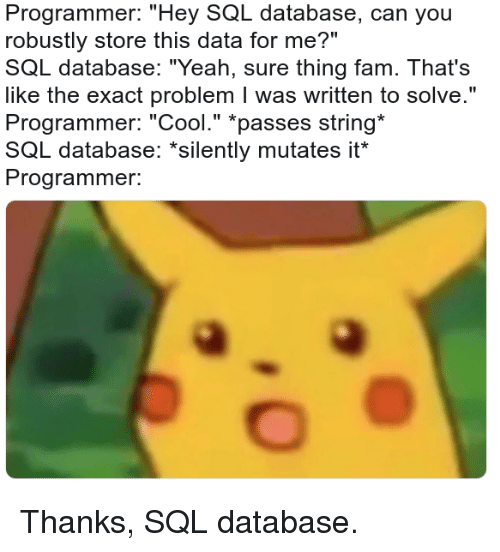 """Fam, Yeah, and Cool: Programmer: """"Hey SQL database, can you  robustly store this data for me?""""  SQL database: """"Yeah, sure thing fam. That's  like the exact problem I was written to solve.""""  Programmer: """"Cool."""" *passes string  SQL database: """"silently mutates it  Programmer. Thanks, SQL database."""