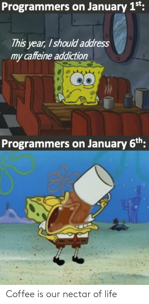 Life, Coffee, and Caffeine: Programmers on January 1st:  This year, I should address  my caffeine addiction  Programmers on January 6th: Coffee is our nectar of life