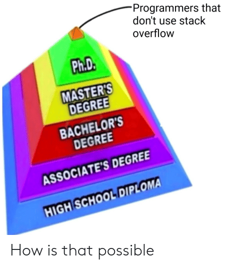 School, Masters, and High School Diploma: Programmers that  don't use stack  overflow  Ph.D.  MASTER'S  DEGREE  BACHELOR'S  DEGREE  ASSOCIATE'S DEGREE  HIGH SCHOOL DIPLOMA How is that possible
