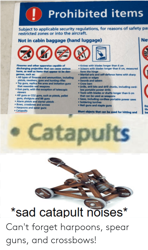 Fire, Guns, and Reddit: Prohibited items  Subject to applicable security regulations, for reasons of safety pa  restricted zones or into the aircraft.  Not in cabin baggage (hand luggage)  Ne  Firearms and other apparatus capable of  discharging projectiles that can cause serious  harm, as well as items that appear to be dan-  Knives with blades longer than 6 cm  Scissors with blades longer than 6 cm, measured  form the hinge  Martial-arts and self-defence items with sharp  poin  Swords and sabers  Crow bars  .Drills, drill bits and drill chucks, including cord-  less portable power drills  Tools with blades or shafts longer than 6 cm  that can be used as weapons  Saws, including cordless portable power saws  Soldering torches  Nail guns and staple guns  gerous, such as:  All types of firearms and ammunition, including  pistols, revolvers, guns and hunting rifles  Toy guns, replica fire arms and imitation guns  that resemble real weapons  Gun parts, with the exception of telescopic  viewers  Alr guns or CO2 guns, such as pistols, pellet  guns, shotguns and BB guns  Alarm pistols and starter pistols  Bows, crossbows and arrows  Harpoons and spear guns  Catapults  edges  Exm  the  Blunt objects that can be used for hitting and  Catapults  *sad catapult noises* Can't forget harpoons, spear guns, and crossbows!