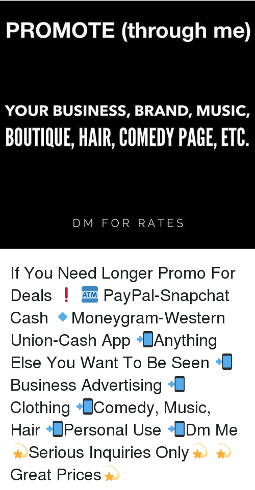 PROMOTE Through Me YOUR BUSINESS BRAND MUSIC BOUTIQUE HAIR