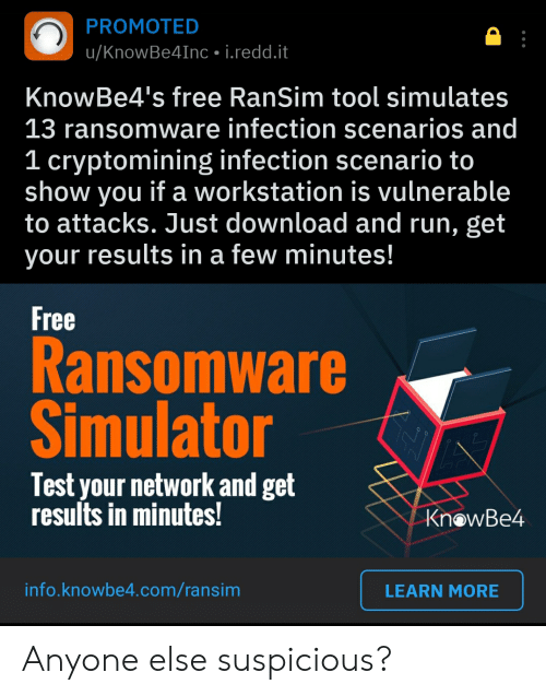 PROMOTED uKnowBe4Inc Ireddit KnowBe4's Free RanSim Tool Simulates 13