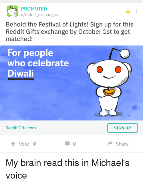 Reddit The Office And Brain PROMOTED U Exchanges Behold Festival Of