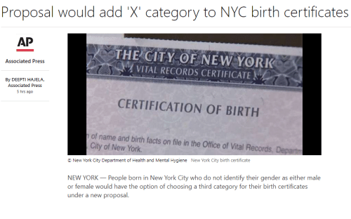 Proposal Would Add \'X\' Category to NYC Birth Certificates AP THE ...