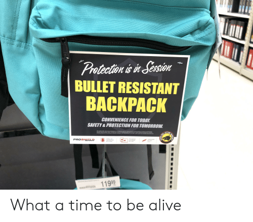 Alive, Reddit, and Justice: Protection is in Sersion  BULLET RESISTANT  BACKPACK  CONVENIENCE FOR TODAY  SAFETY&PROTECTION FOR TOMORROW  This lightweight soft-armored backpack is bulletproof against certain firearms and has plenty of room to conveniently  hold all your everyday items. Testing was conducted following the Department of Justice National Institute of Justice's  testing guidelines for protective materials category (NIJ-STD-0108.01 Level tMA). Test results are included with each item  LIFETIME  PROSHIELR  LEVEL IIA  Fits laptops  and tablets  up to 18  Lightweight  for easy  LAB REPORT  INCLUDED  carry  BALK  11999  TLERATIH  GUARD  (4 What a time to be alive