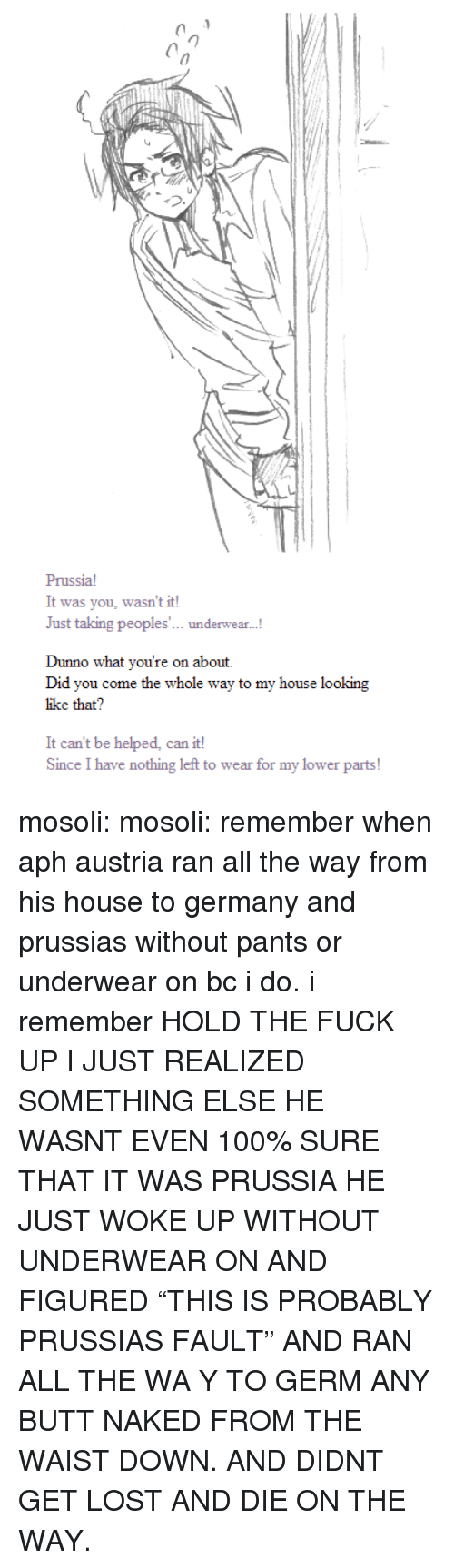 """Anaconda, Butt, and My House: Prussia!  It was you, wasn't it!  J  ust taking peoples... und  erwear...  Dunno what you're on about.  Did you come the whole way to my house looking  like that?  It can't be helped, can it!  Since I have nothing left to wear for my lower parts mosoli:  mosoli:  remember when aph austria ran all the way from his house to germany and prussias without pants or underwear on bc i do. i remember  HOLD THE FUCK UP I JUST REALIZED SOMETHING ELSE HE WASNT EVEN 100% SURE THAT IT WAS PRUSSIA HE JUST WOKE UP WITHOUT UNDERWEAR ON AND FIGURED """"THIS IS PROBABLY PRUSSIAS FAULT"""" AND RAN ALL THE WA Y TO GERM ANY BUTT NAKED FROM THE WAIST DOWN. AND DIDNT GET LOST AND DIE ON THE WAY."""