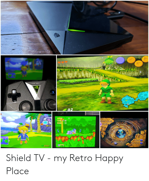 Happy, Shield, and Options: PS  Crouc  GAMESPEAK  BEGIN  TİHE,0:30  4  LOAD  OPTIONS  SELECI Shield TV - my Retro Happy Place