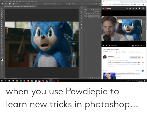 """Photoshop, Reddit, and Windows: Ps  File Edit Image Layer  Type Select  Filter  3D View Window Help  Fixing Sonic in Photoshop - YouT  +  X  Mode: Normal  Sample: Current Layer  Source: Sampled  