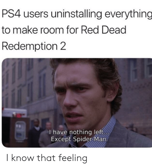 Ps4, Spider, and SpiderMan: PS4 users uninstalling everything  to make room for Red Dead  Redemption 2  I have nothing left  Except Spider Man I know that feeling