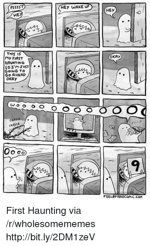 Http, Okay, and Haunting: PSSSST  HEY WAKE UP  HE  THIS IS  my FIRST  HAUNTING  So Im JUST  GOING TO  GO AHEAD  OKAY  OKAy  rattle  rattle  CiiiiP  9  FEELAFRAIDComiC Com First Haunting via /r/wholesomememes http://bit.ly/2DM1zeV