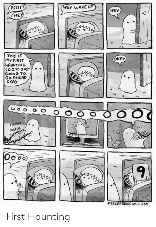 Okay, Haunting, and Com: PSSSST  HEY WAKE UP  HE  THIS IS  my FIRST  HAUNTING  So Im JUST  GOING TO  GO AHEAD  OKAY  OKAy  rattle  rattle  CiiiiP  9  FEELAFRAIDComiC Com First Haunting