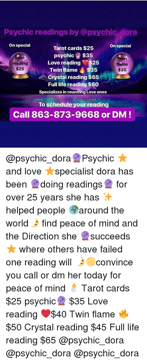 Psychic Readings by Dora on Special on Special Tarot Cards