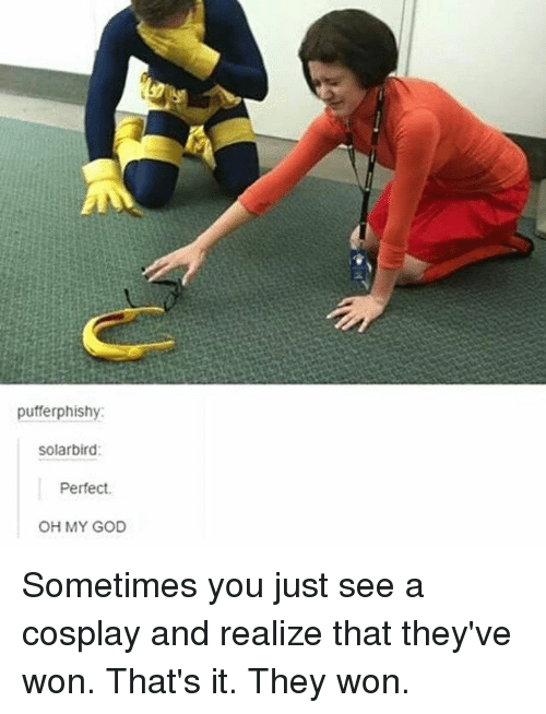 God, Memes, and Oh My God: pufferphishy:  Solarbird:  Perfect.  OH MY GOD Sometimes you just see a cosplay and realize that they've won. That's it. They won.