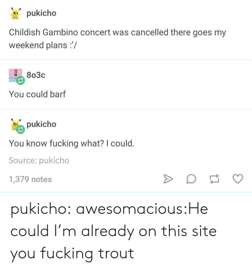 Childish Gambino, Fucking, and Tumblr: pukicho  Childish Gambino concert was cancelled there goes my  weekend plans:/  2 803c  You could barf  pukicho  You know fucking what? I could  Source: pukicho  1,379 notes pukicho:  awesomacious:He could I'm already on this site you fucking trout