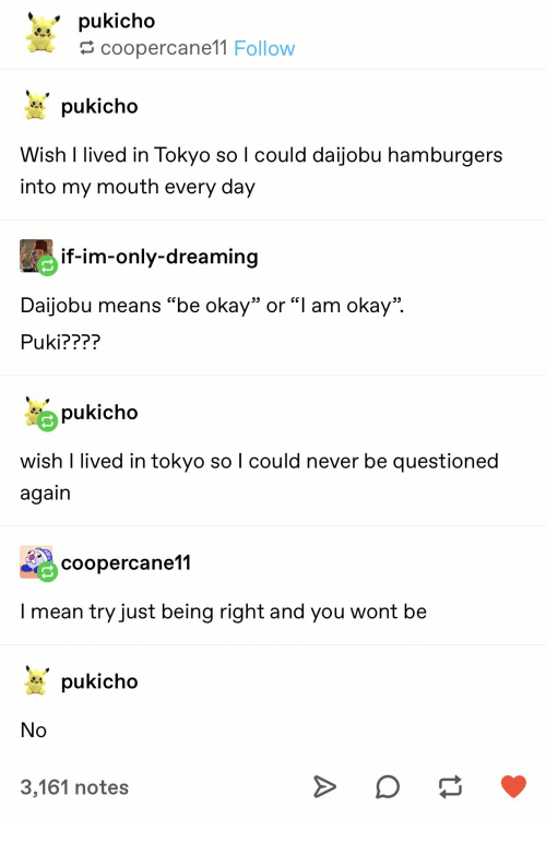 """Mean, Okay, and Never: pukicho  coopercane11 Follow  pukicho  Wish I lived in Tokyo so I could daijobu hamburgers  into my mouth every day  if-im-only-dreaming  Daijobu means """"be okay"""" or """"l am okay""""  Puki????  pukicho  wish I lived in tokyo so I could never be questioned  again  coopercane11  I mean try just being right and you wont be  pukicho  No  3,161 notes"""