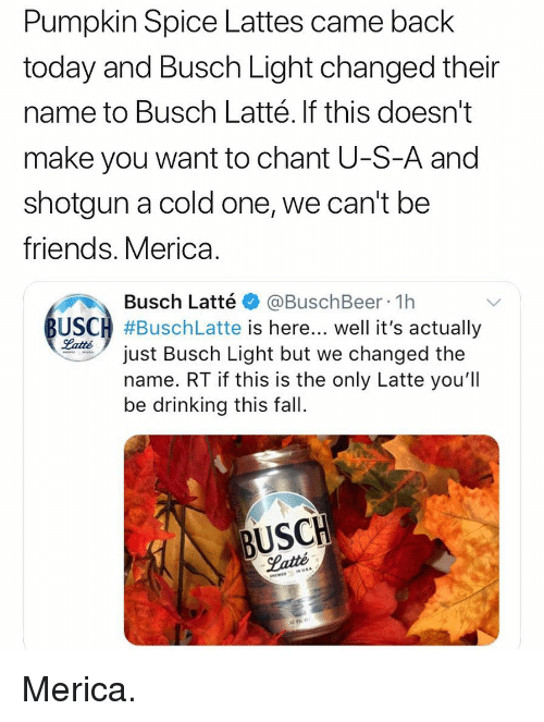 Pumpkin Spice Lattes Came Back Today and Busch Light Changed Their