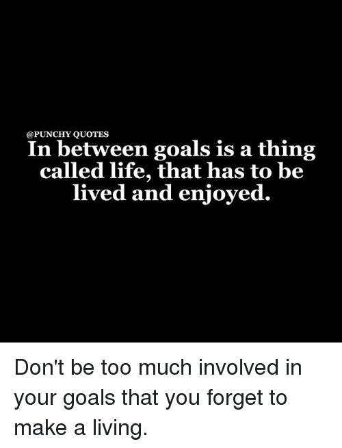 QUOTES In Between Goals Is A Thing Called Life That Has To Be Lived Best This Thing Called Life Quotes
