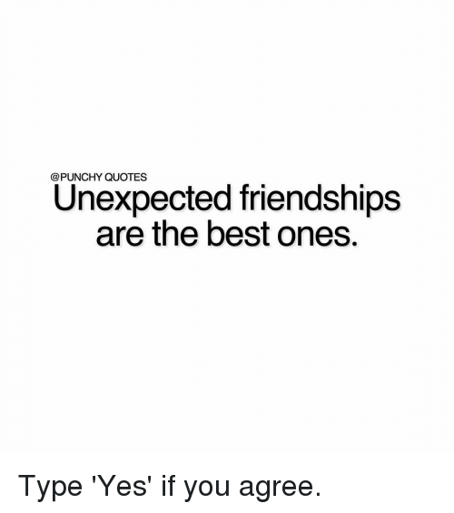Punchy Quotes Unexpected Friendships Are The Best Ones Type Yes If