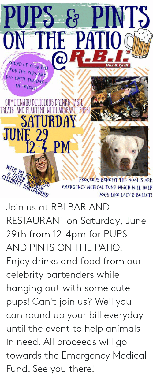 Animals, Cute, and Dogs: PUPS&PINTS  ON THE PATIO  R.B.I  Bar&Grill  ROUND UP YOUR BiLL  FOR THE PUPSANY  DAY UNTIL THE Day F  THE EVENT  GOME ENJOY DELIGIOUS DRINKO TAGTH  TREATG AND PLAUTIME NITH ADDRABLE PUPGI  SATURDAY  JUNE 29  12-4 PM  WITH MJ FROM 97ZOK  & OTHER SURPRISE  CELEBRITY BARTENDERS  PROCEEDS BENEFIT THE NOAH'S ARK  EMERGENCY MEDiCal FUND WHICH WILL HELP  DOGS LikE LACY & BULLET! Join us at RBI BAR AND RESTAURANT on Saturday, June 29th from 12-4pm for PUPS AND PINTS ON THE PATIO! Enjoy drinks and food from our celebrity bartenders while hanging out with some cute pups! Can't join us? Well you can round up your bill everyday until the event to help animals in need. All proceeds will go towards the Emergency Medical Fund. See you there!
