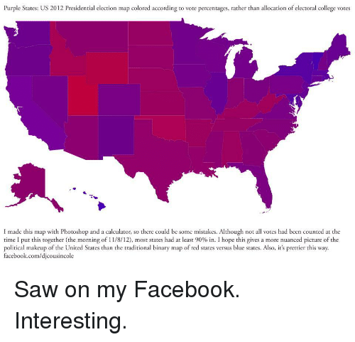Purple States US 2012 Presidential Election Map Colored According to ...