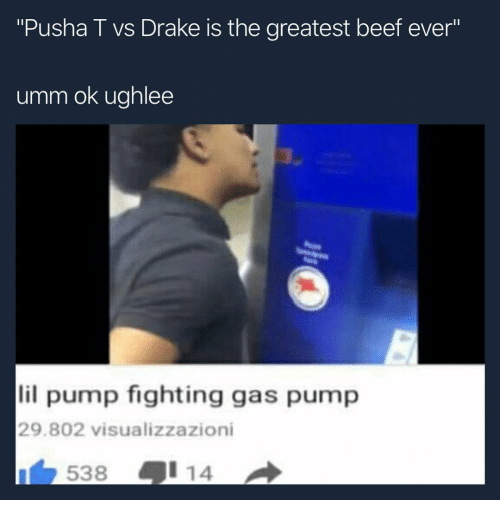 "Beef, Drake, and Pusha T.: ""Pusha T vs Drake is the greatest beef ever""  IS  umm ok ughlee  lil pump fighting gas pump  29.802 visualizzazioni  538号114"