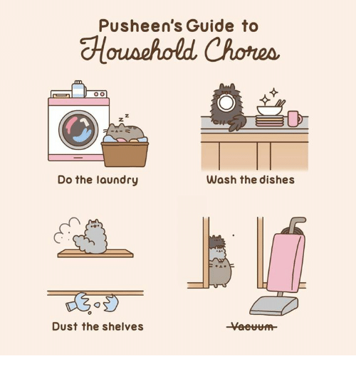 Laundry, Memes, and 🤖: Pusheen's Guide to  Do the laundry  Wash the dishes  Dust the shelves