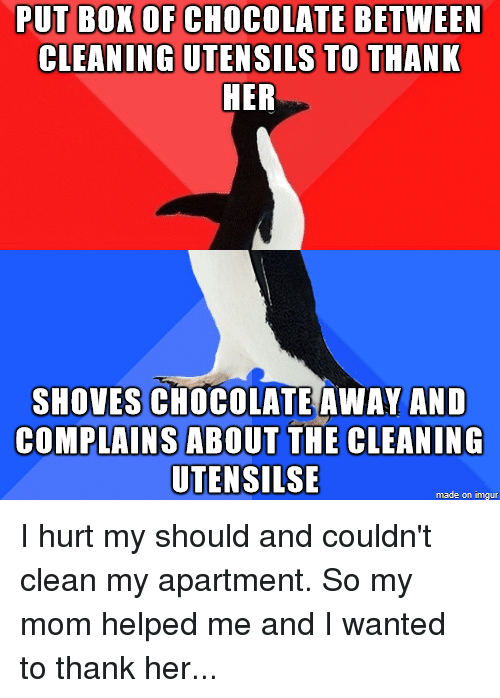 PUT BOX OF CHOCOLATE BETWEEN CLEANING UTENSILS TO THANK HER SHOVES ...