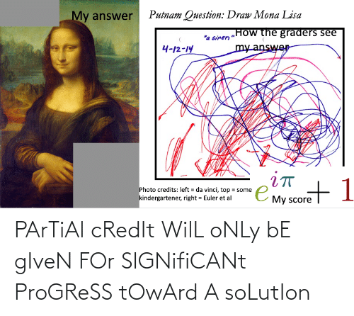 """Mona Lisa, Lisa, and Answer: Putnam Question: Draw Mona Lisa  My answer  """"How the graders see  """"a siren  my answer  4-12-14  iт  e My score  Photo credits: left = da vinci, top = some  %3D  kindergartener, right = Euler et al PArTiAl cRedIt WilL oNLy bE gIveN FOr SIGNifiCANt ProGReSS tOwArd A soLutIon"""