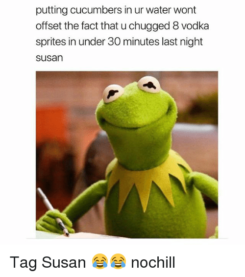 Funny, Water, and Vodka: putting cucumbers in ur water wont  offset the fact that u chugged 8 vodka  sprites in under 30 minutes last night  susan Tag Susan 😂😂 nochill