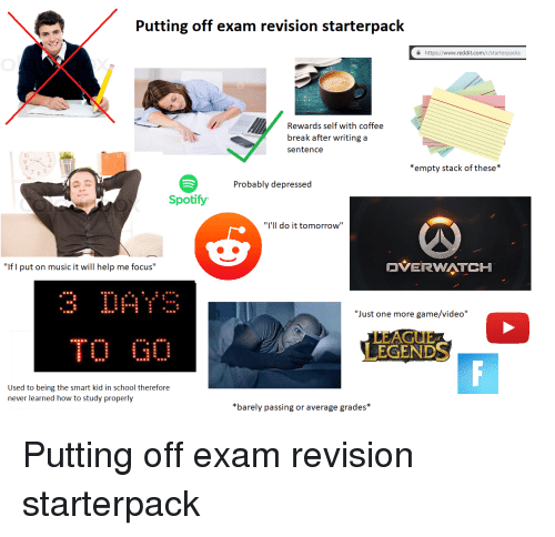 Putting Off Exam Revision Starterpack a