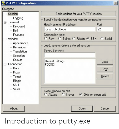 PUTTY Configuration Category Session Basic Options for Your