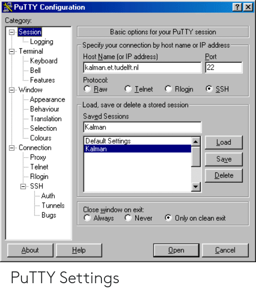 PuTTY Configuration Category Session Logging ETerminal Basic
