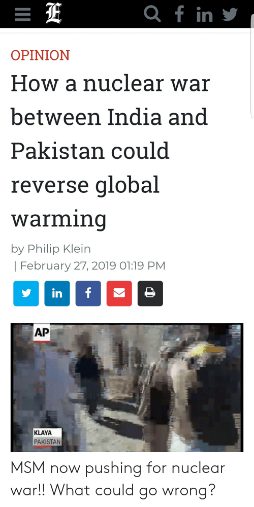 Q F in OPINION How a Nuclear War Between India and Pakistan