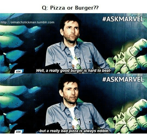 Q Pizza or Burger?? #ASK MARVEL