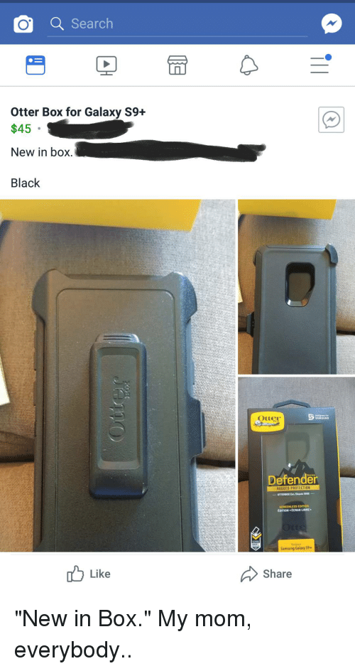 Q Searc Otter Box for Galaxy S9+ $45 New in Box Black Otte Defender