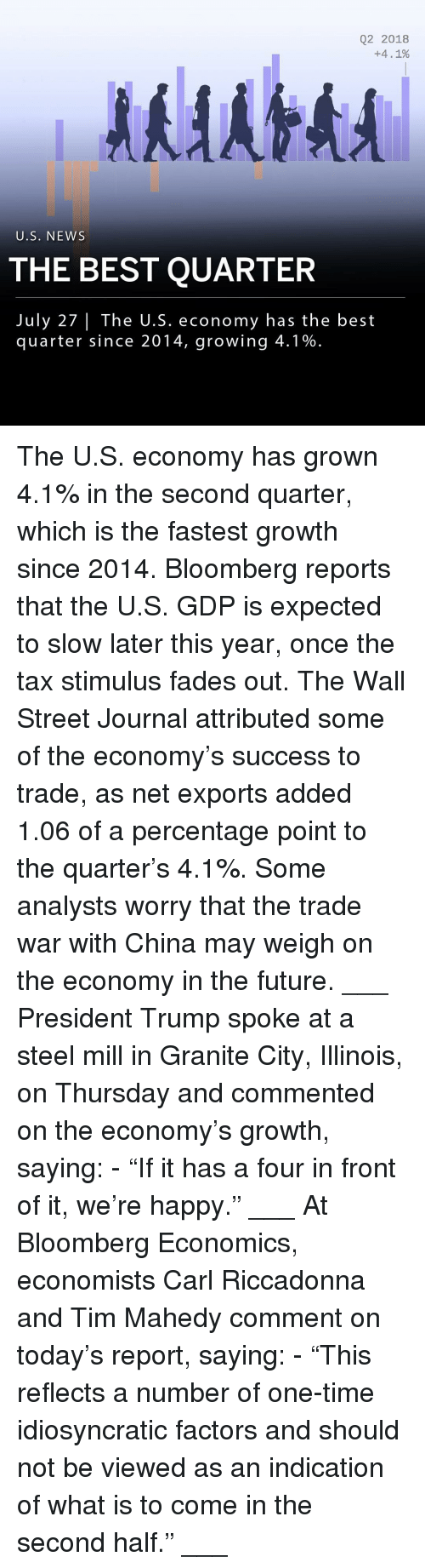 """Future, Memes, and News: Q2 2018  +4. 1%  U.S. NEWS  THE BEST QUARTER  July 27