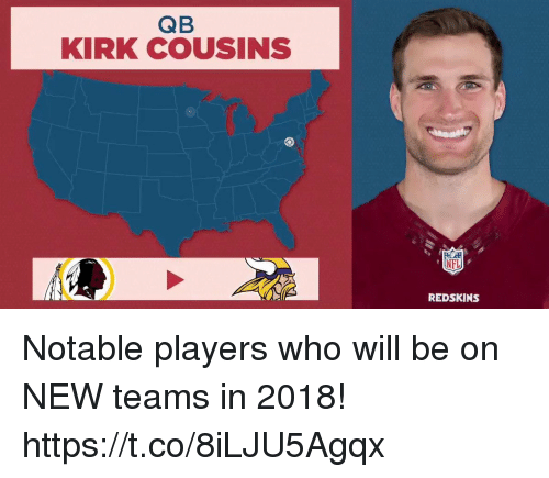 Kirk Cousins, Memes, and Nfl: QB  KIRK COUSINS  NFL  REDSKINS Notable players who will be on NEW teams in 2018! https://t.co/8iLJU5Agqx